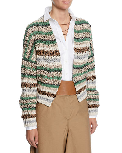 Paillettes Striped Short Cardigan