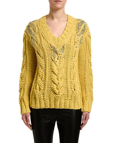 Embellished V-Neck Cable-Knit Sweater