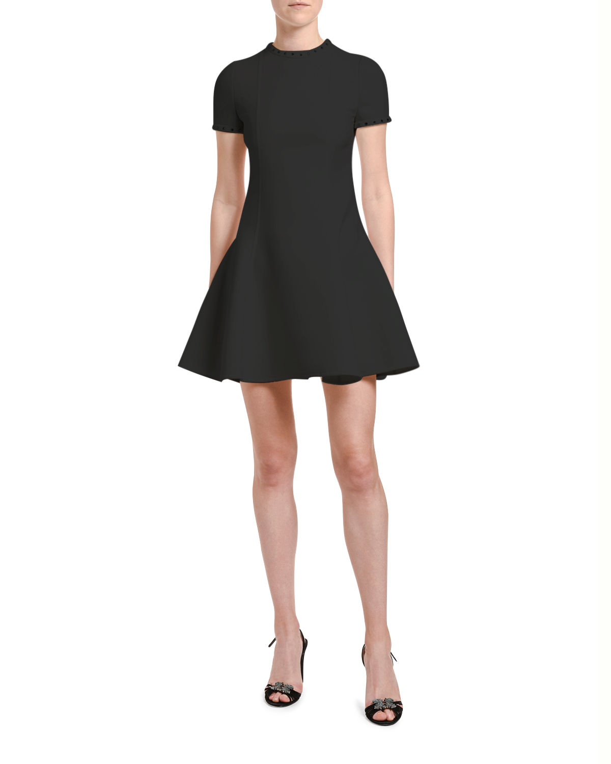 Valentino Studded-Trim Wool Fit & Flare Dress