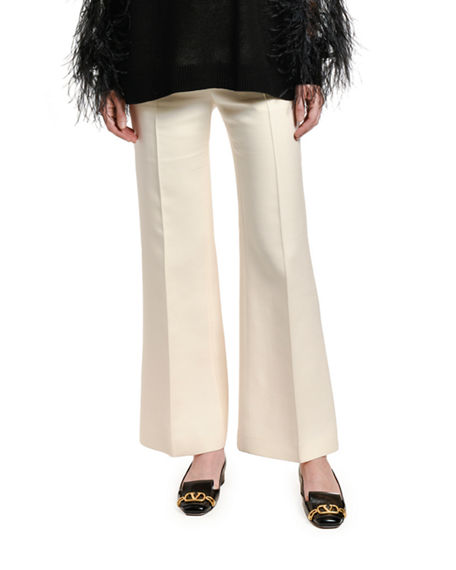 Valentino Pants WOOL-SILK WIDE-LEG PANTS