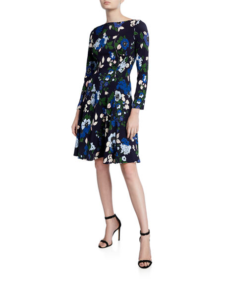 Lela Rose Floral-Print 3/4-Sleeve Dress