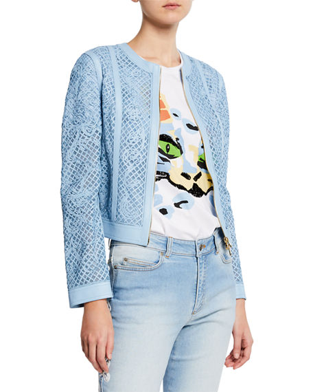 Escada Lattice-Lace Embroidered Leather Jacket
