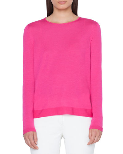Fine-Gauge Cashmere-Silk Sweater