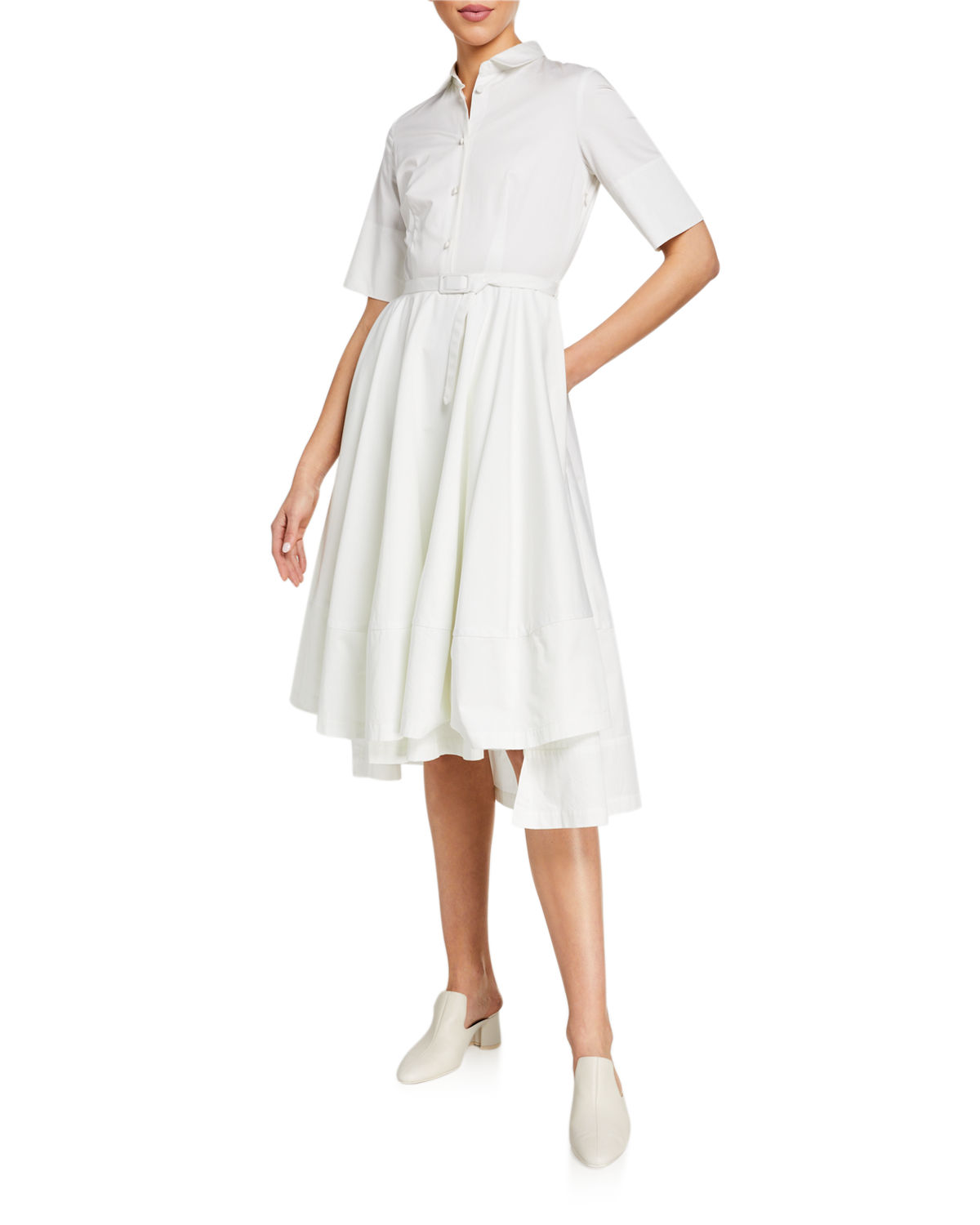 Co Dresses POPLIN FLARED SHORT-SLEEVE SHIRTDRESS