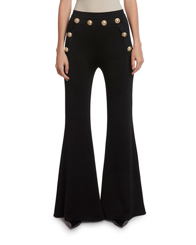 Balmain Button-Embellished Flare Pants