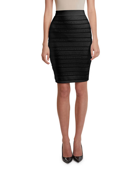 Balmain High-Waist Logo-Banded Pencil Skirt
