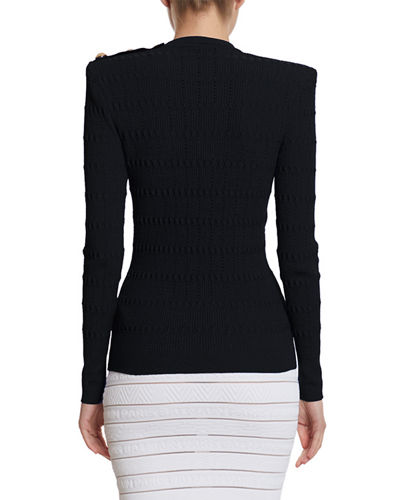 Balmain Structured Should Open Knit Sweater