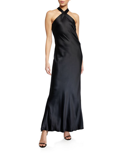 Galvan Eve Heavy Silk Halter-Neck Dress