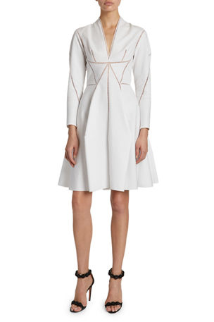 ALAIA Sculptural Seamed Poplin Dress