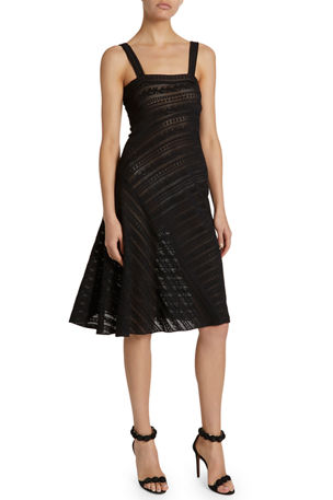ALAIA Square-Neck Striped Lace Midi Dress