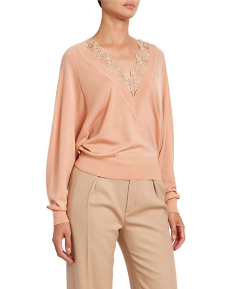 Chloe Lace V-Neck Wool-Silk Sweater