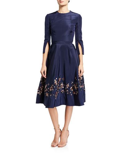 Oscar de la Renta Embroidered Taffeta Dress