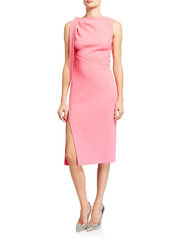 Sleeveless Bateau-Neck Dress with Side Tie