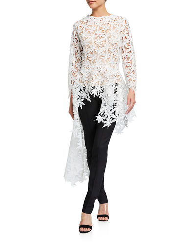 Asymmetric Long-Sleeve Embroidered Top