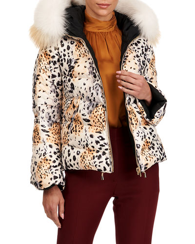 Reversible Quilted Puffer Jacket W/ Detachable Fox Fur Hood Trim