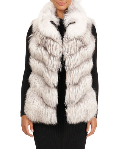 Down & Fox Fur Reversible Chevron Vest