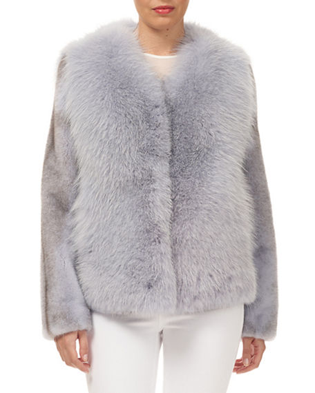 Gorski Fox Fur Jacket with Mink Fur Sleeves