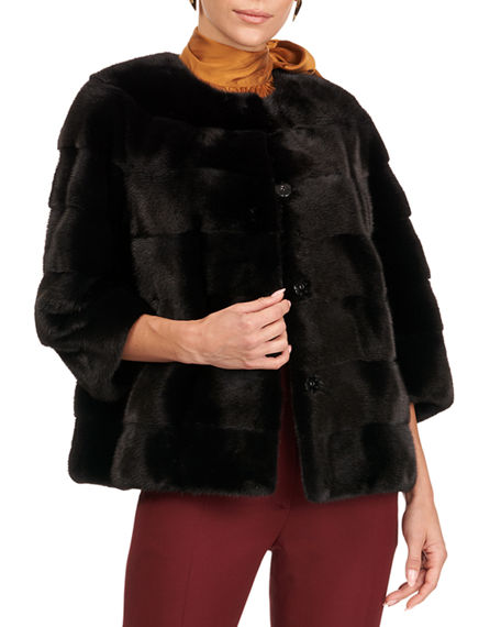 Gorski Horizontal Mink Fur 3/4 Sleeve Jacket