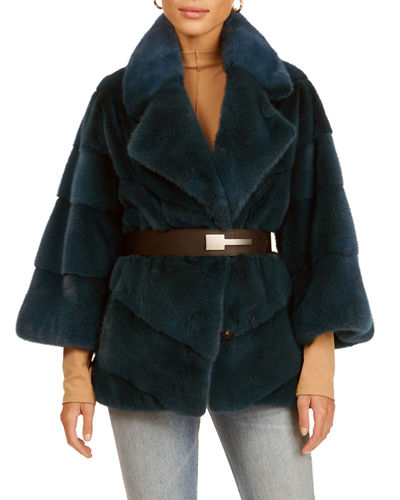 Chevron Mink Fur 3/4 Sleeve Jacket
