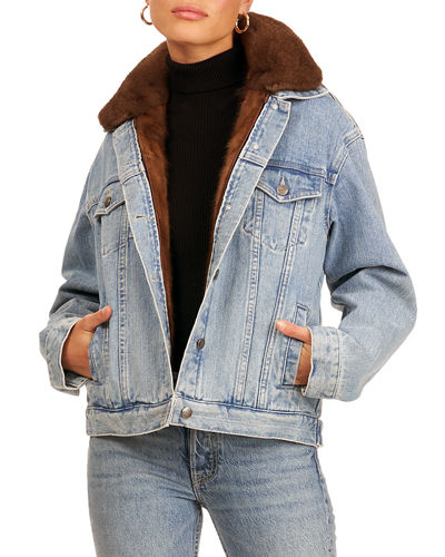 Denim Jacket w/ Mink Fur and Detachable Vest