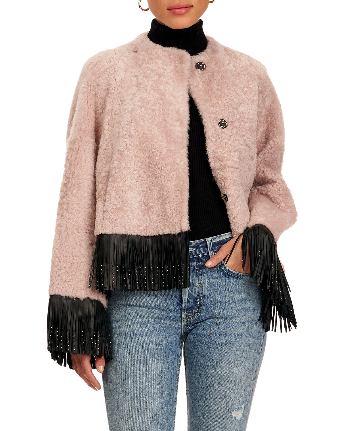 Christia SHEARLING LAMB JACKET WITH FRINGE