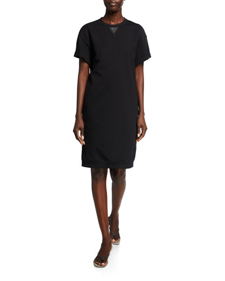 Image 1 of 2: Brunello Cucinelli Monili-Beaded Cotton Felpa Cap-Sleeve T-Shirt Dress