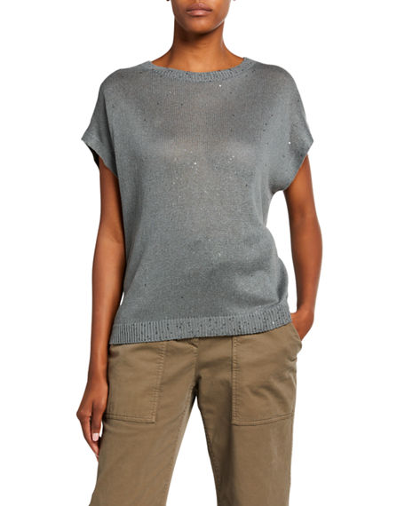Image 1 of 3: Brunello Cucinelli Linen-Silk Sequined Cap-Sleeve Sweater