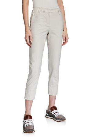 Brunello Cucinelli Cuffed Straight-Leg Stretch-Cotton Pants