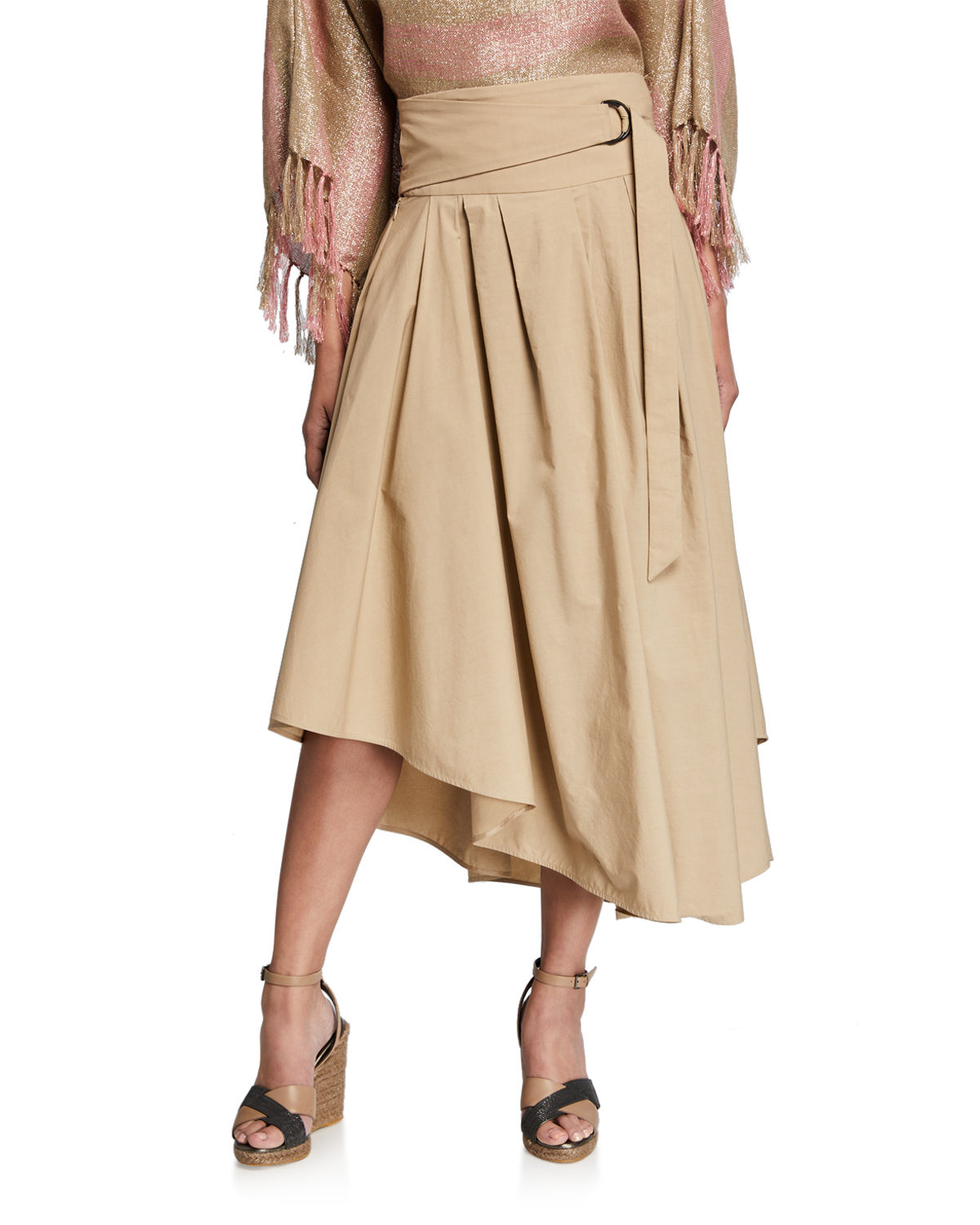 Brunello Cucinelli Asymmetric Wrapped A-Line Skirt