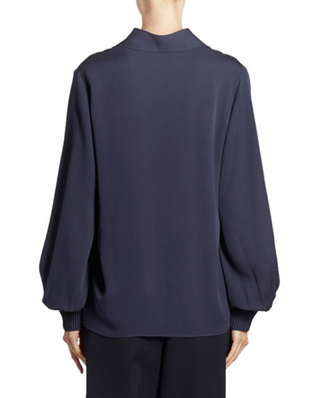 Image 2 of 3: Nina Ricci Silk Button-Front Long-Sleeve Top