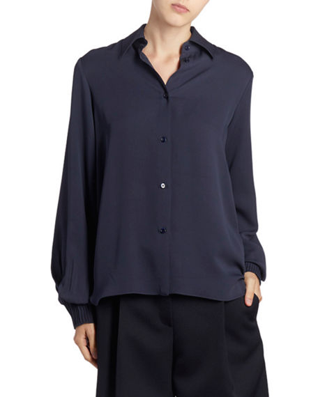 Image 3 of 3: Nina Ricci Silk Button-Front Long-Sleeve Top