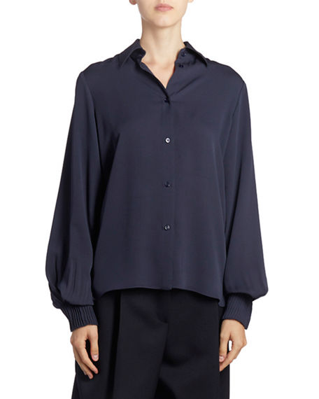 Image 1 of 3: Nina Ricci Silk Button-Front Long-Sleeve Top