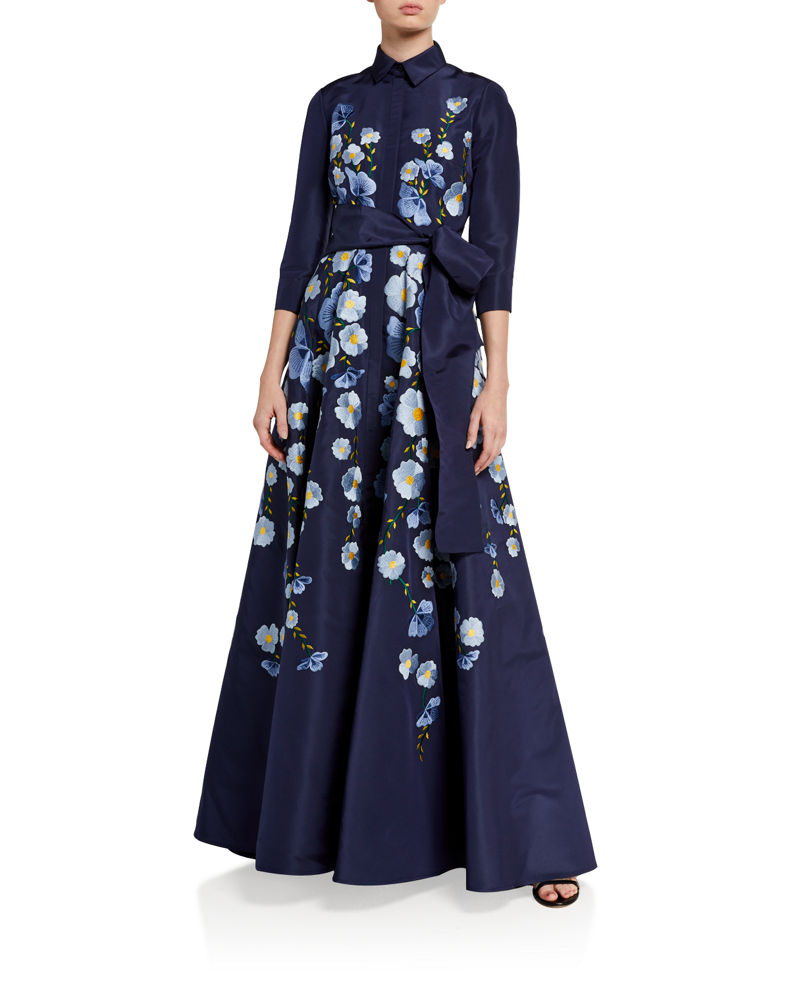 Carolina Herrera Floral Embroidered 3/4-Sleeve Silk Trench Gown