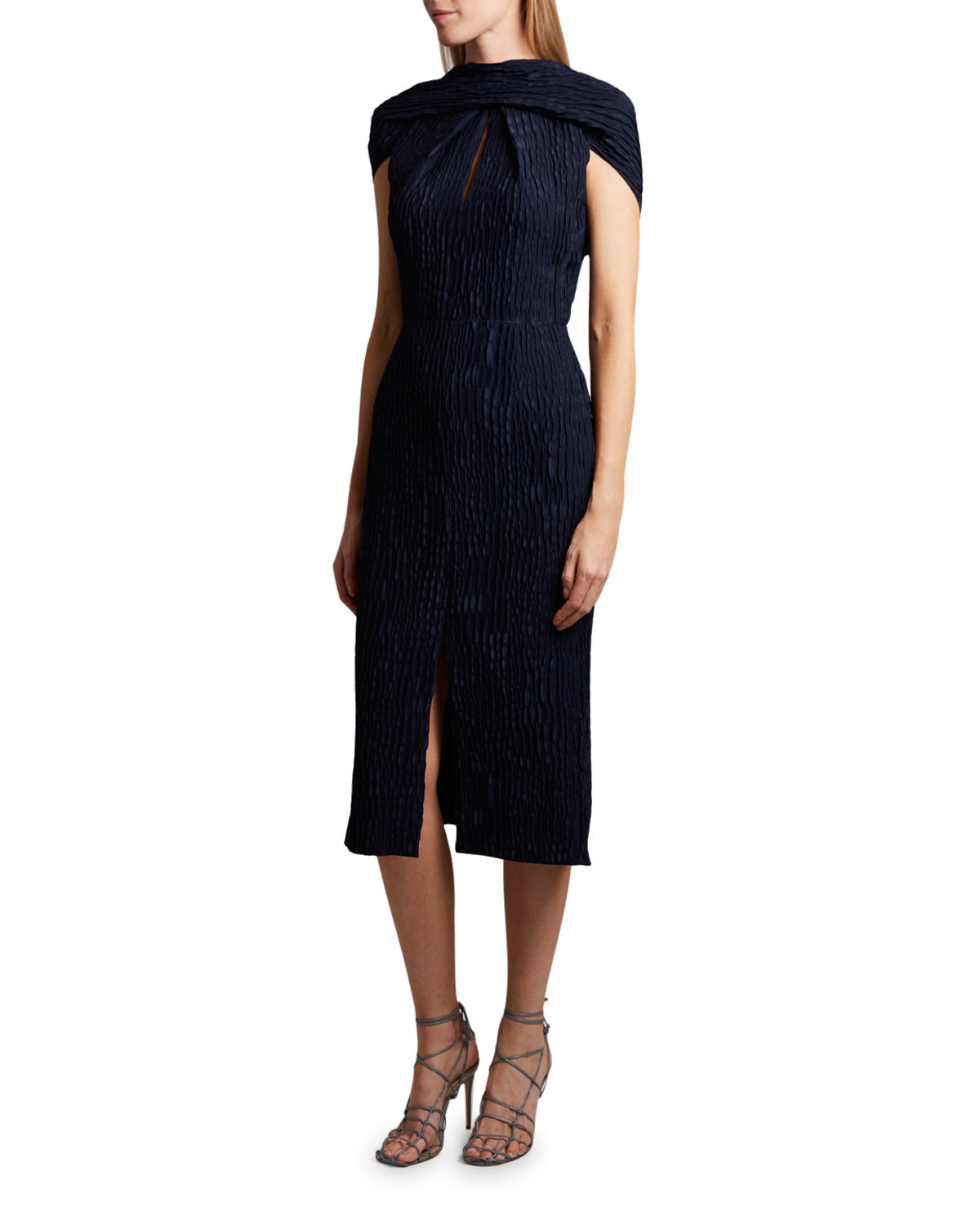 Roland Mouret BELEM DRESS SILK JACQUARD HIGH NECK DRESS