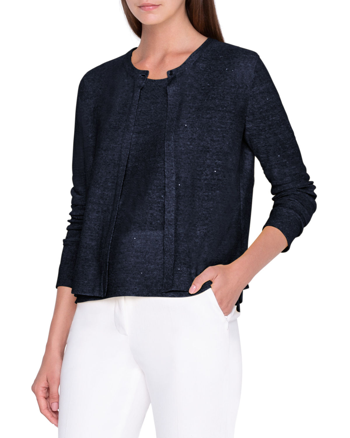Akris SEQUIN LINEN-COTTON CARDIGAN