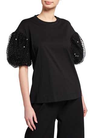 Simone Rocha Sequined Puff-Sleeve Tee