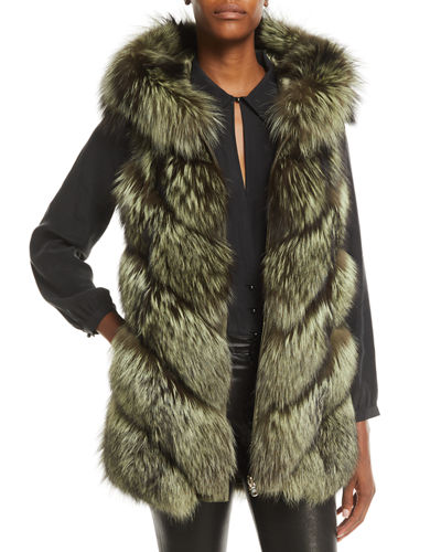 Gorski Reversible Fox-Fur & Quilted Down Vest