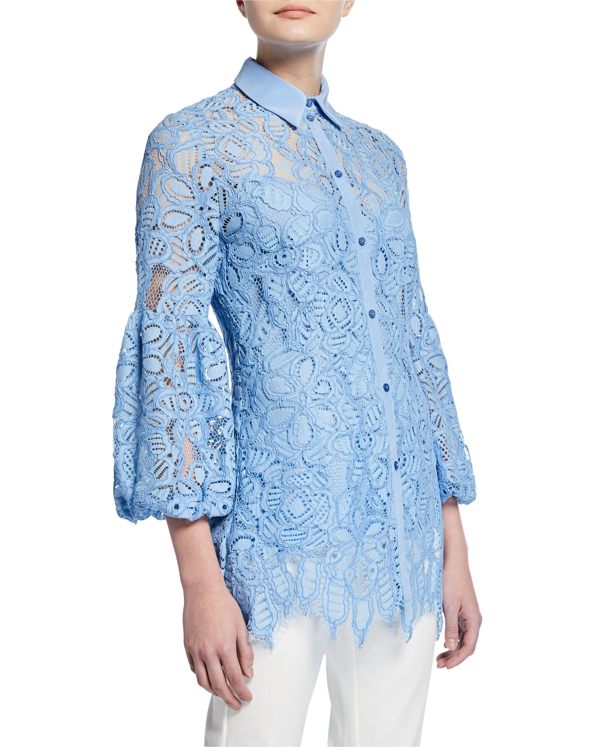 Lela Rose T-shirts FULL-SLEEVE LACE SHIRT