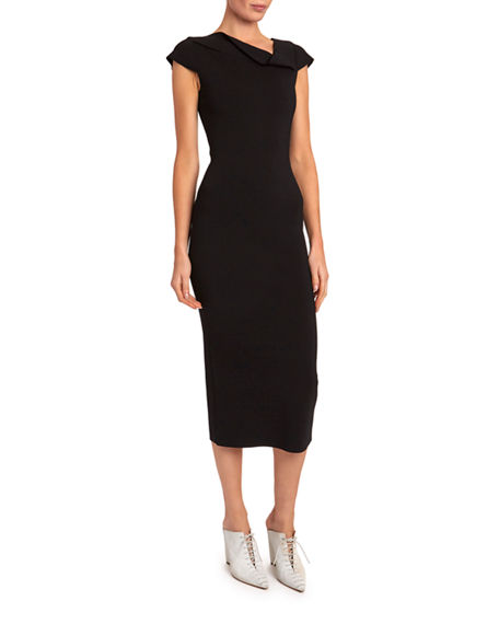 Roland Mouret Keel Cap-Sleeve Knit Asymmetric Dress
