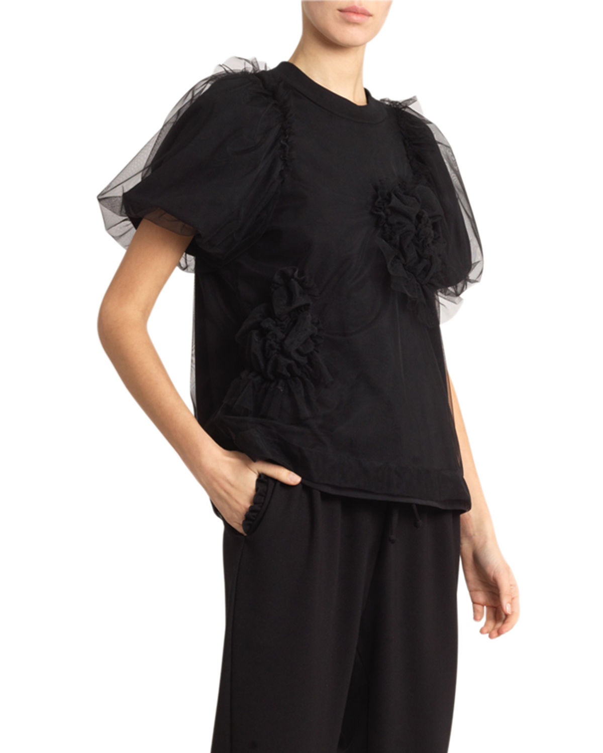 Simone Rocha Tops FLORAL-TULLE OVERLAID JERSEY TEE