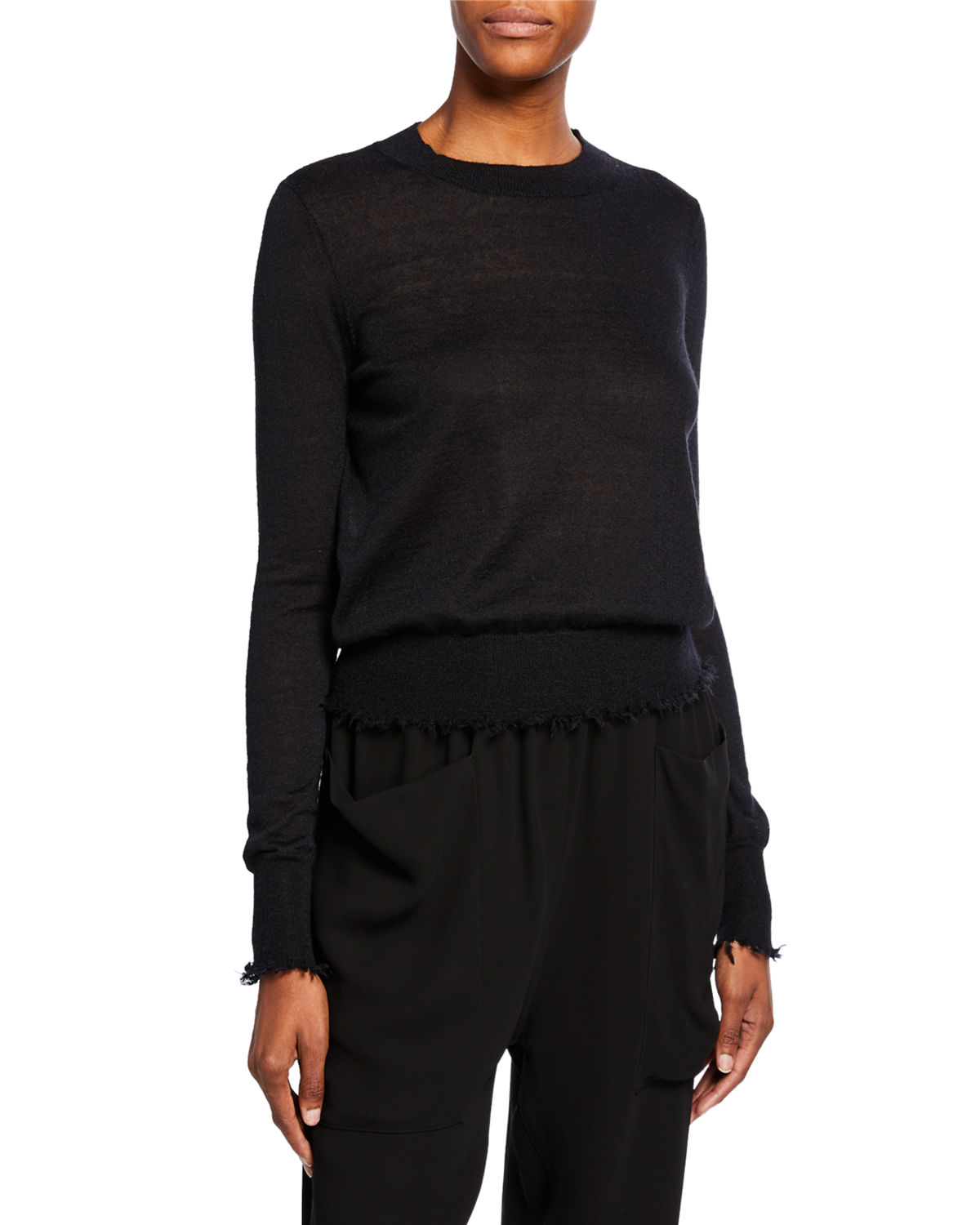 Co Sweaters FRAYED BATEAU NECK SWEATER
