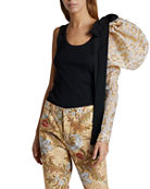 Dries Van Noten One-Sholder Leopard Puff-Sleeve Top and