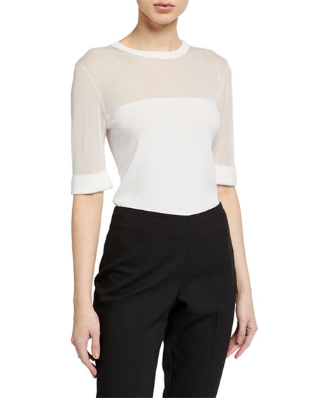 Escada 1/2-Sleeve Illusion Top