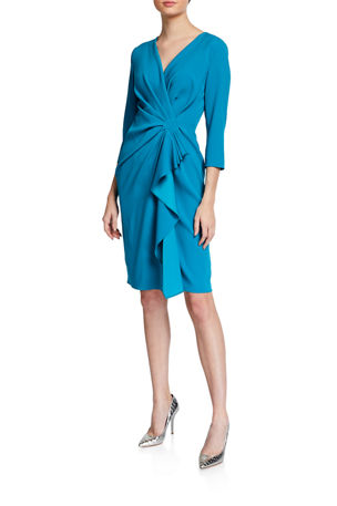 Escada V-Neck Ruffled Ruched Crepe Dress