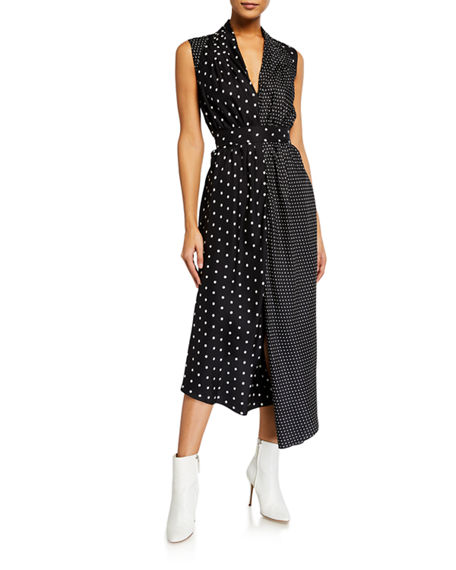 Image 1 of 2: Adam Lippes Asymmetric Polka-Dotted Dress