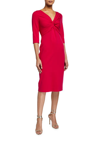 Escada 3/4-Sleeve Ruched Dress