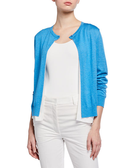 Image 1 of 2: Akris Silk-Linen Double Cardigan
