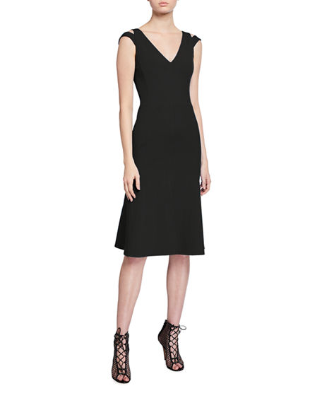 Akris Shoulder Strapped V-Neck Dress