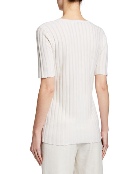 Image 2 of 3: Gabriela Hearst Milandes Cashmere-Silk Ribbed Tee
