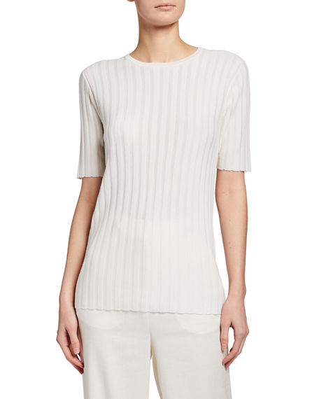 Image 1 of 3: Gabriela Hearst Milandes Cashmere-Silk Ribbed Tee